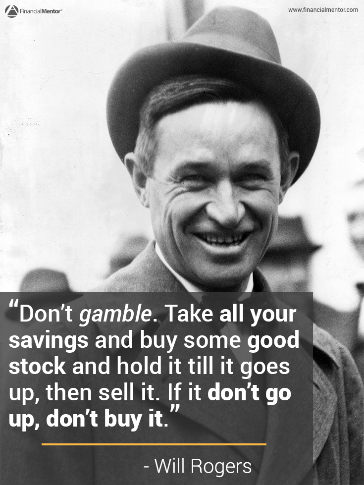 Image of Will Rogers with Quote about Investment Strategy