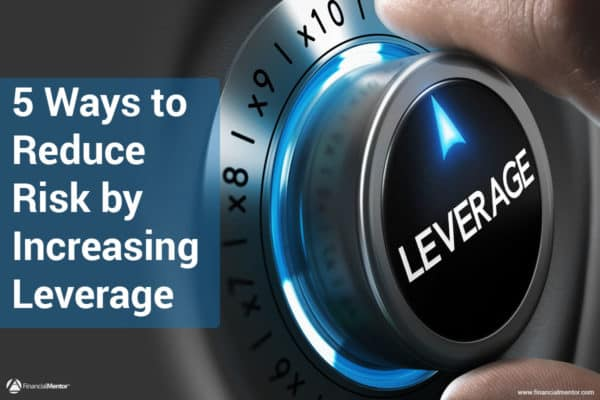 Photo of a leverage dial with text 5 ways to reduce risk by increasing leverage