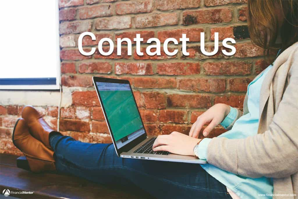 Contact information for FinancialMentor.Com with email, telephone, snail mail addresses, and contact form.