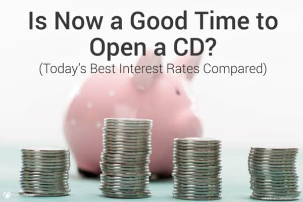 Photo of piggy bank in background with coins in foreground with text Is Now a Good Time to Open a CD