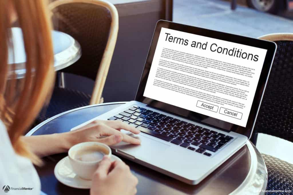 A legal document providing the terms and conditions of use for the Financial Mentor web site.