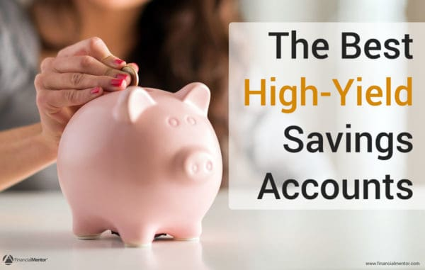 Photo of woman putting a coin in a piggy bank with text 'The Best High-Yield Savings Account'