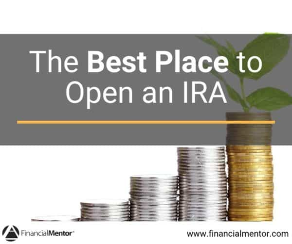 "Coins in stack showing how money compounds over time with text ""The Best Place to Open an IRA"""