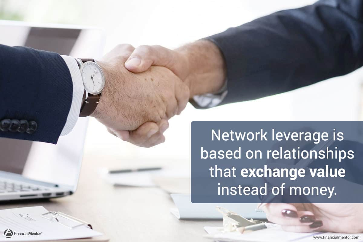 "Photo of two hands shaking over a desk and paperwork with text ""network leverage is based on relationships that exchange value instead of money"""